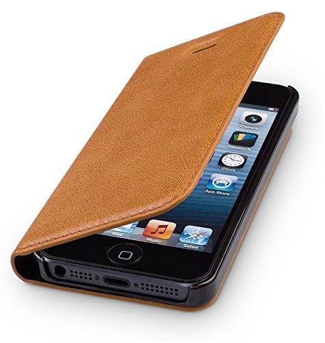 WIIUKA Echt Ledertasche - TRAVEL - für Apple iPhone 5 / 5S / SE Hülle mit Kartenfach, Cognac Braun, extra Dünn, Leder Tasche kompatibel mit iPhone 5/5S/SE