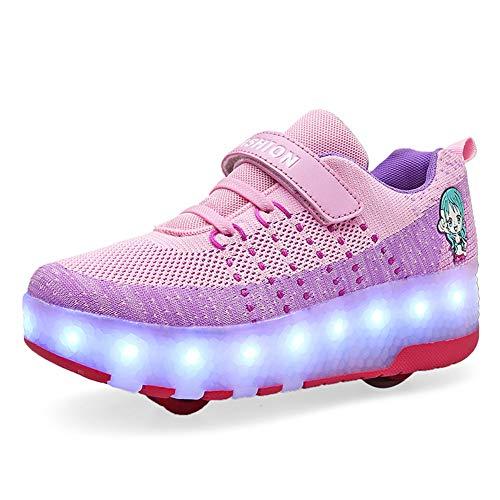 Kinder Junge Mädchen LED Rollenschuhe mit Doppelt Rollen Einziehbar Outdoor Sportschuhe LED Leuchtend Gymnastik Sneaker 7 Farbe Blinken USB Aufladbare Skateboardschuhe