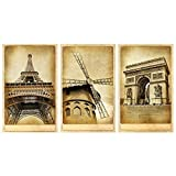 Meishe Art Poster Print Torre Eiffel Holanda Molino de viento triunfal Arch Retro Vintage World Famous Architecture Edificios Country Landmark Landmark Home Wall Decor Set de 3 piezas