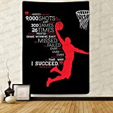 F-FUN SOUL Basketball Dunk Tapestry, Large 60x80inches Soft Flannel, Flying Jordan Saying Wall Hanging Tapestries for Living Room Bedroom Decor Party Banner GTZYFS98