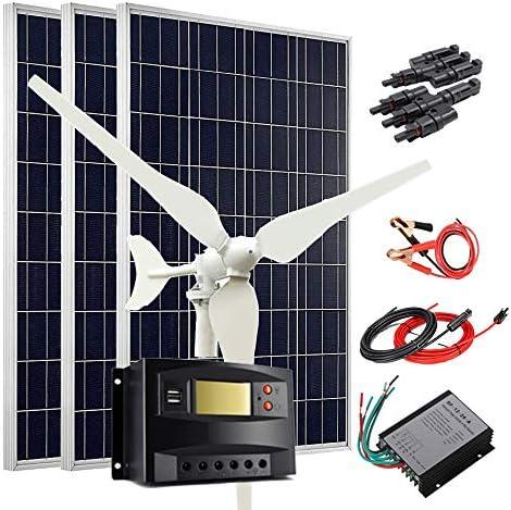 400W Wind Solar Kit 12V Off Grid System 100W Wind Turbine Generator 3pcs 100W Poly Solar Panel product image