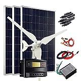 400W Wind Solar Kit 12V Off Grid System: 100W Wind Turbine Generator + 3pcs 100W Poly Solar Panel + Wind Controller + Solar Charge...
