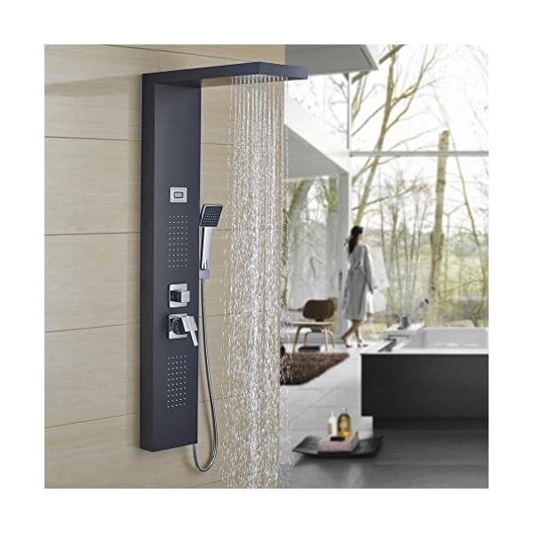 Auralum-Panel de Ducha de Acero Inoxidable Elegante con Chorros de Masaje y Cascada con Tinta Indicador de Temperatura…
