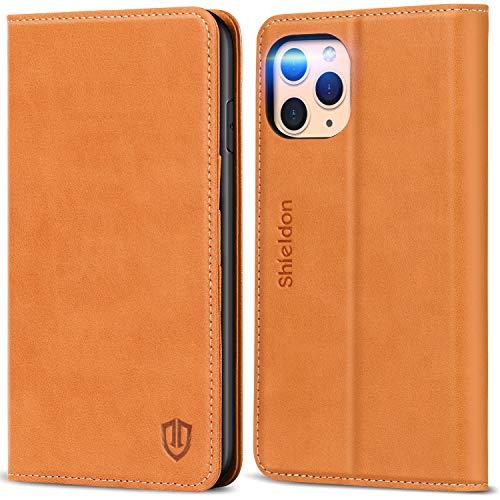 SHIELDON Funda iPhone 11 Pro MAX, Funda Libro Protectora con Despertar/Dormir Automático, Bloqueo RFID, Cáscara de TPU, Funda de Cuero Genuino para iPhone 11 Pro MAX(6.5 Pulgadas 2019), Marrón