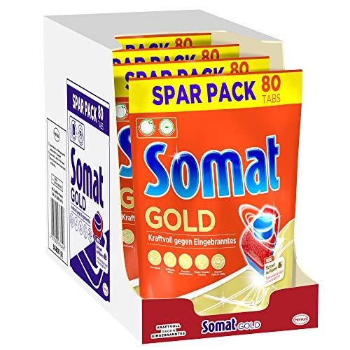 Somat 12 Gold Multi Aktiv, Spülmaschinentabs, Sparpack, 4er Pack (4 x 80 Tabs), Extra-Kraft gegen Eingebranntes und Glanz-Effekt