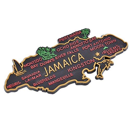 YNuth Imán para nevera con mapa de Jamaica para decoración del hogar, 3,8 x 9,2 cm