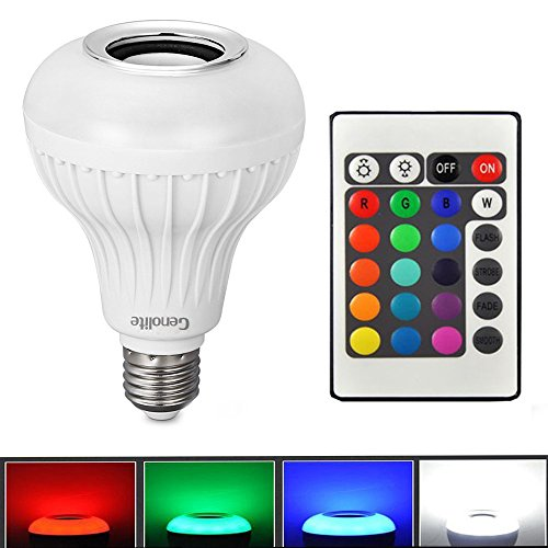 Genolite Wireless Speaker bulb light 12W Power LED RGBW Color Lights Bluetooth Control Audio Lamps Music Playing IR Remote