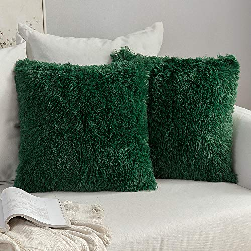 MIULEE Faux Fur Fluffy Cushion Covers Faux Fur Throw Pillow Case Soft Decorative Square Cute Pillow Plush Case For Livingroom Sofa Bedroom 18 x 18 Inch 45 x 45 cm Dark Green Pack of 2