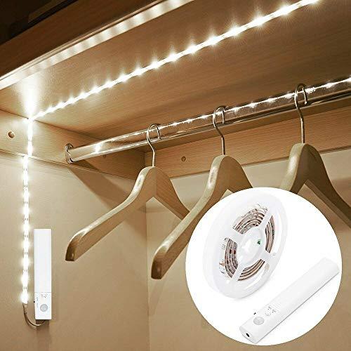 LED-Lichtstreifen mit Bewegungsmelder, 2 m, Schrank-Nachtlichtleiste, eingebaute große Kapazität, wiederaufladbar, batteriebetrieben (3 m, kaltweiß)