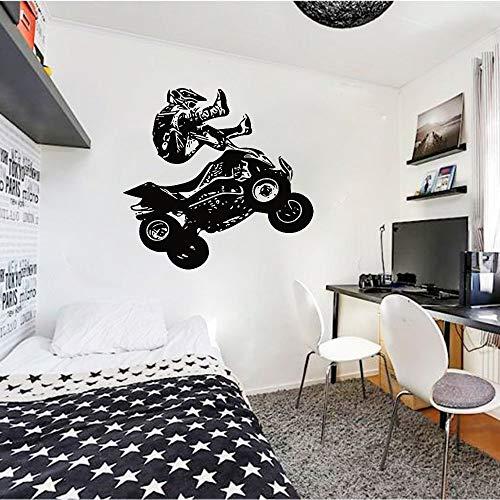 AGjDF Vierrädriges Motorrad Wandtattoos vierrädriges Motorrad Rennrennsport Extremsport Kunst Vinyl Aufkleber Jugend Schlafzimmer Spielzimmer Heimdekoration57x59cm
