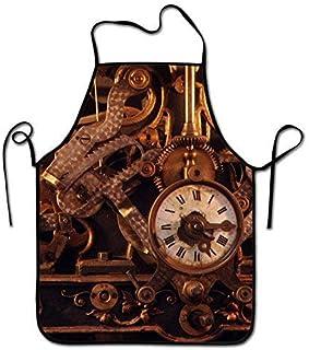 Not Applicable Delantal de Chef de Cocina Ajustable - Reloj de Estilo Retro Horologium, Delantal Comercial para Hombres y Mujeres para cocinar, Hornear, Hacer Manualidades, jardinería, Barbacoa
