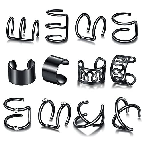 12 Piezas de C Letter Fashion Simple y Generoso Punk Trendy Conjunto de Pinzas para la Oreja no Perforadas
