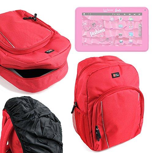 DURAGADGET Mochila para Niños para Lexibook Barbie Tablet | XL Fluo | Kids + Funda Impermeable - Roja