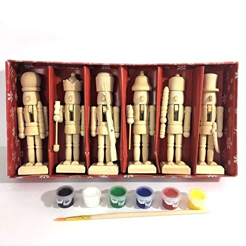 Paint Your Own 5' Mini Wooden Nutcrackers Christmas Craft Kit Box Set of 6 DIY