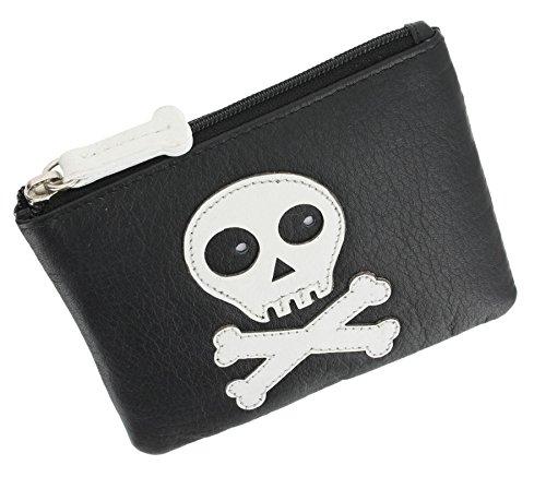 Portamonete di pelle Mala Leather con chiusura a zip e anello porta chiavi. Decorato con un teschio 485_11 Nero