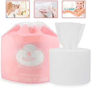 Amisley Cotton Face Towel, Ultra Soft Lint-free Facial Cotton Tissue, 60Pcs Disposable Dry Wipes for Sensitive Skin, Mult...