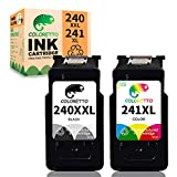 COLORETTO Remanufactured Printer Ink Cartridge Replacement for Canon PG-240XXL CL-241XL 240XL 240 241 XL Combo Pack to use with PIXMA MG3620 TS5120 MG2120 MG3520 MX452 MX512 (1 Black+1 Color)