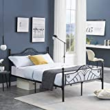 Voilamart Sturdy Metal Full Size Bed Frame with Headboard and Footboard, No Box Spring Needed and Easy Assembly, Platform Base Wrought Iron Bed Frame Full Black