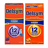 Delsym Parent & Child Bundle- Children's 12 Hour Cough Relief Liquid, (5 oz.), Grape & Adult 12 Hour Cough Relief Liquid, (5 oz.), Orange, Day Or Night Extended Release, 1 Each