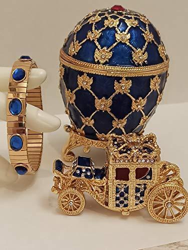 Faberge - Juego de adornos con diseño de carruaje de reina (oro de 24 quilates, con zafiros Swarovski, color azul, para boda, caja de joyería hecha a mano, 10 quilates