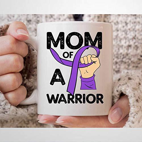 """Kaffeetasse mit Aufschrift """"Mom of A E-pilepsy Warrior"""", lila Tag Awareness-Tasse für E-pilepsie, Kämpfer und Krieger, E-pilepsie, Unterstützung, Geschenke für Mütter, Teetasse, 325 ml"""