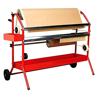 "TCP Global Mobile 36"" Multi-Roll Masking Paper Machine with Storage Trays – Auto Body Paint & Repair Shop, Car Painting Prep from TCP Global"