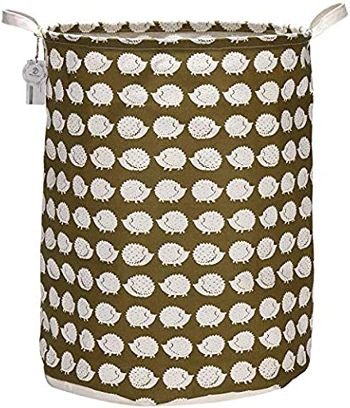 Sea Team 21 7 Oversize Linen Cotton Fabric Folding Nursery Laundry Hamper Bucket Cylindric Burlap Canvas Storage Basket With Waterproof PE Coating Lining Hedgehog