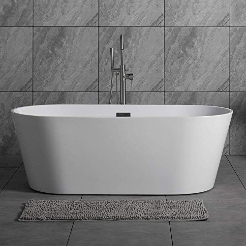 Woodbridge 59' Acrylic Freestanding Bathtub Contemporary Soaking Tub with Brushed Nickel Overflow and Drain, B-0014 / BTA1514
