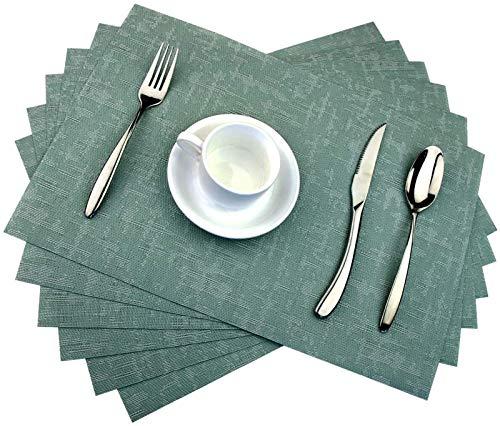 WUCHENG Home Küchentisch Tischset mit Tischläufer, horizontal hitzebeständigen Platzdeckchen, waschbarer Tischset Satz (6 Setzer + 1 Tabellenläufer) tischset
