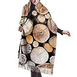 Fendy-Shop Bufanda circular de cachemira circular con troncos de madera rústica para mujeres, hombres, ligeras, unisex, suaves, de invierno, bufandas, chal con flecos