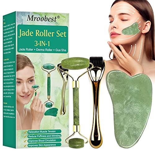 Jade Roller, Microneedle Derma Roller, Gua Sha Schaber, Jade Roller Massagegerät, 3-in-1 Jade Gesichtsroller mit Derma Roller und Gua Sha für Anti Aging,Muskel Entspannung