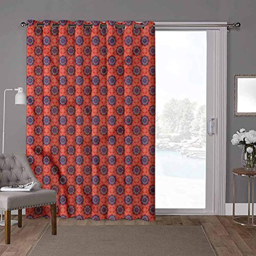 YUAZHOQI Grommet Thermal Insulated Darkening Room Divider Curtain, Tribal,Oriental Floral Motifs, W100 x L96 Inch Glass Door Curtains for Window(1 Panel)
