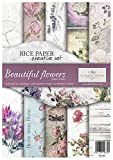 Itd Collection - Papel de Arroz, Set creativo A4 Decoupage Scrapbooking 29.7 x 21 cm Multicolores (Beautiful Flowers)