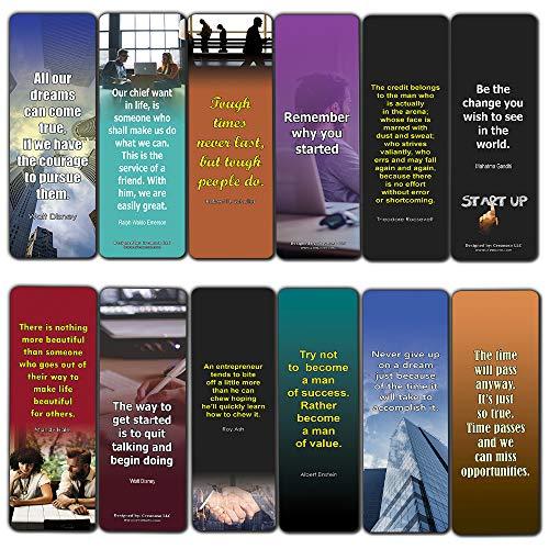 Motivational Bookmarks (60-Pack) - Inspirational Wisdom Quotes for Men Women Entrepreneurs Businessmen - Great Encouragement Gifts Business Events Conferences Seminar Book Club