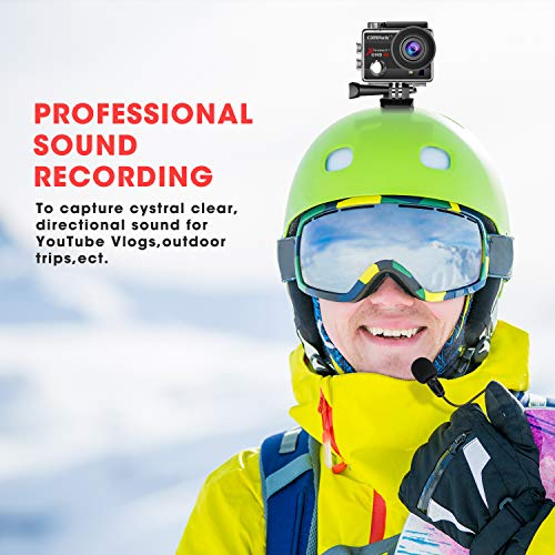 【2020 Upgrade】Campark 4K 20MP Action Camera EIS External Microphone Remote Control WiFi Waterproof Camera Webcam with 170° Wide Angle and 2 Batteries