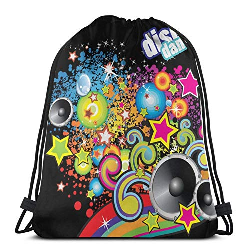 Lsjuee Disco Dance FlyerBackpack Sports Fitness Backpack Waterproof Men's and Women's Waist Bag Travel Yoga Beach School