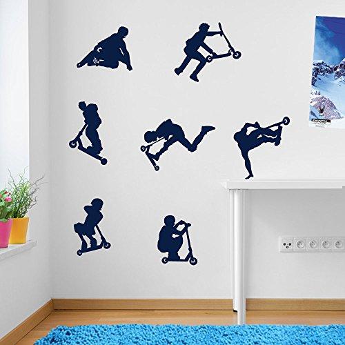 Vinyl Concept Niños Acrobacia Scooters, Saltos, Trucos, Decoraciones de Pared Pegatinas para Ventana Secoración Decorativas Adhesivo Mural Decor DIY Extraíble Colores - 14- Azul Oscuro, Large Set