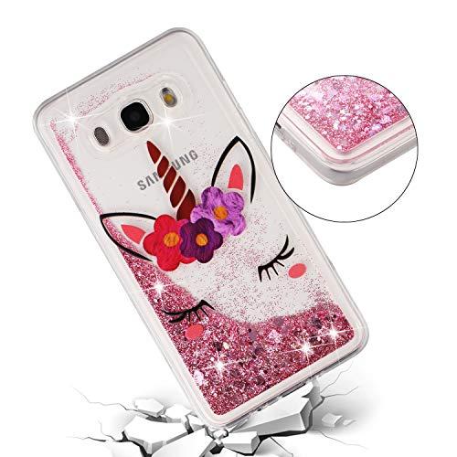 ChoosEU Silicona Glitter para Funda Samsung Galaxy J5 2016 Transparente Dibujos Brillante Unicornio Bonita Carcasas Liquido Purpurina TPU Case Antigolpes Bumper Cover Protección Caso - Unicornio