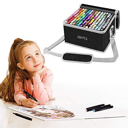 168 Farben Permanent Marker Set, Filzstifte, Graffiti Stift Permanent Marker, Twin Tip Textmarker, mit Tragetasche für Skizzieren, Malerei Coloring, Hervorhebungen und Unterstrei