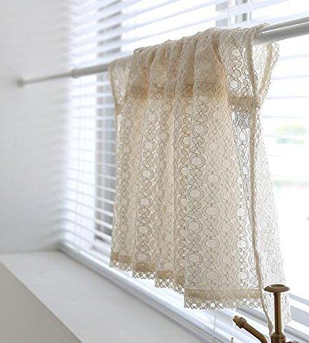 "Cozymomdeco Cotton Lace Curtain Cafe Curtain Kitchen Curtain Window Valance Farmhouse Home Decor, 55.1"" W x 18.8"" L"