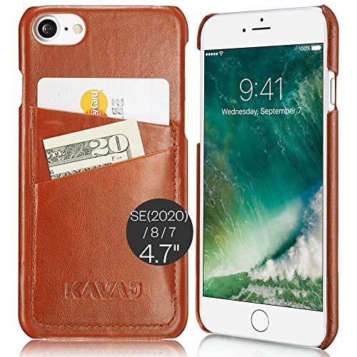 KAVAJ Funda Compatible con Apple iPhone SE (2020), 8, 7 4.7' Cuero - Tokyo - Marrón coñac Carcasa Case Bumper Ultra Slim/Resistente con Compartimento para Tarjetas