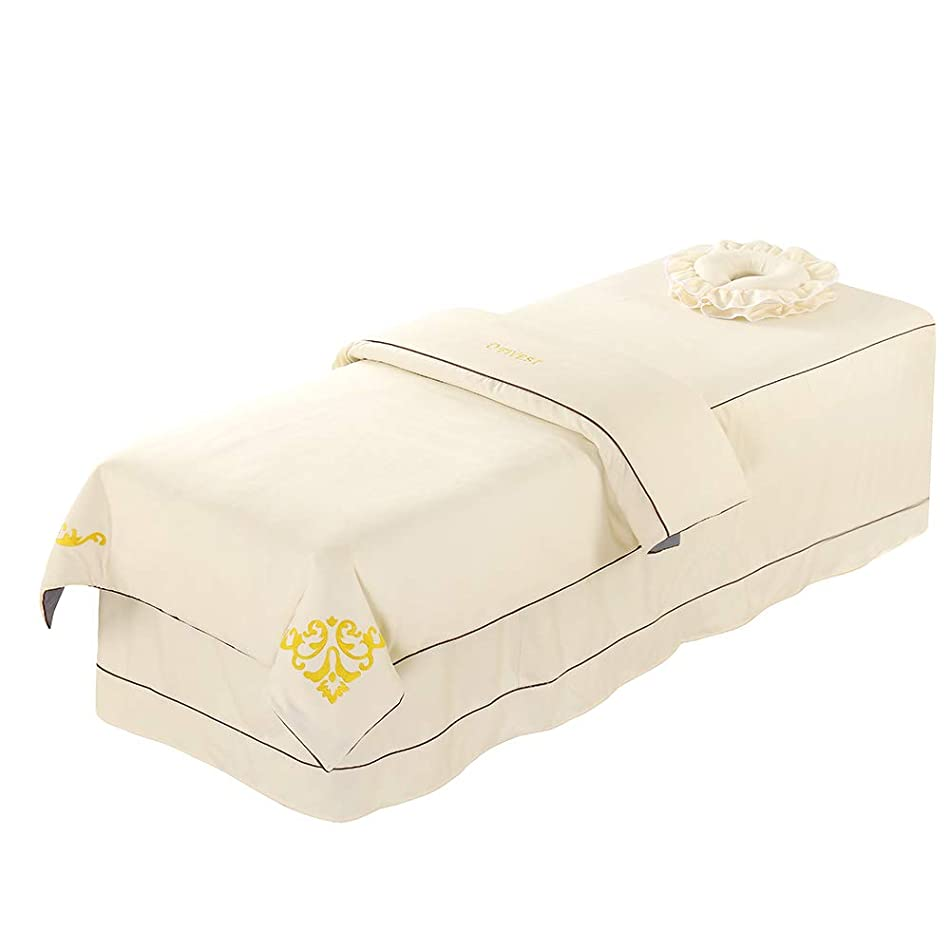 Premium Massage Table Sheet Sets with Face Rest Hole Fitted Table Skirt Luxury Face Cradle Spa Blanket 3 Piece-for Portable Adjustable Folding Massage Table Bed (Ivory)
