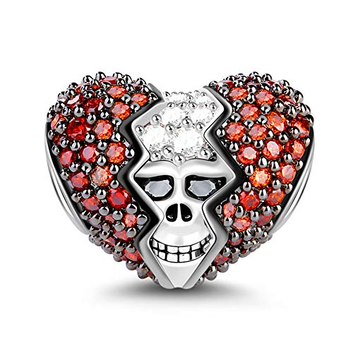 GNOCE Sterling Silber Schädel Charm mit roten Cz In Ihrem Herzen versteckt Damen/Herren Charm Fit Alle Armband/Halskette Schmuck Valentine Geschenk für Schädelliebhaber