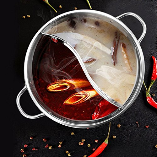 1Pc Kochtopf Edelstahl Einzel-Schicht-Kochtopf 30Cm Doppel-Ohr-Ente Mandarin Fondue Hot Pot Pot Kochen