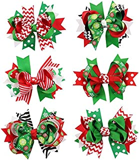 6Pcs HChristmas Bow Knot Hair Pins Handmade Hair Accessories for Christmas Day,Celebration for Girls
