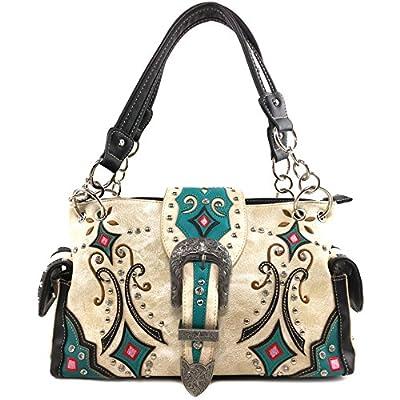 Justin West Western Floral Embroidery Studs Bling Rhinestone Buckle Shoulder Concealed Carry Handbag Purse (Beige Handbag)