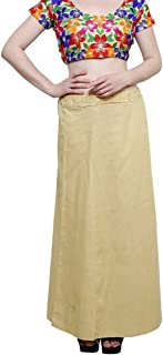 Crocon Women's Cotton Bollywood Solid Petticoat Underskirt for Saree Indian Traditional Sari Matching Inner Skirt