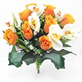 Rosa y – ramo de orquídeas artificiales flores, Orange & White, 1 Bunch
