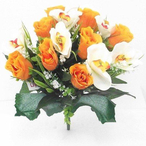 Rosa y–ramo de orquídeas artificiales flores, Orange & White, 1 Bunch