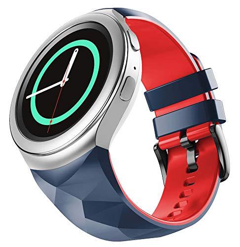 WIIKAI Correa de repuesto para reloj, compatible con Samsung Gear S2, correa de reloj. (azul marino)